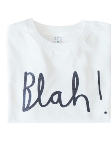 "Lotta + Pepe T-Shirt ""blah"" in Weiß/Schwarz"