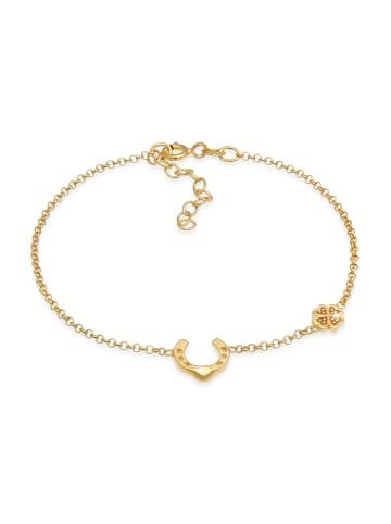 Nenalina Armband 925 Sterling Silber Hufeisen, Kleeblatt in Gold