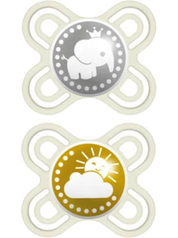 MAM Schnuller Perfect Start, Silikon, Gr.0, grün/beige, 2er Pack