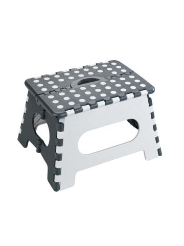 Wenko Klapphocker Secura, faltbarer Tritthocker, extrem belastbar bis 350 kg in Hocker: Mehrfarbig, Füße: Schwarz, Punkte: Weiß