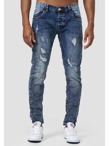 Jaylvis Stone Wash Denim Jeans Falten Design Slim Fit Hose in Blau