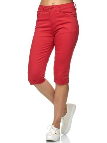 Simply Chic Kurze Capri Jeans Shorts Sommer Bermuda 3/4 Hose in Rot