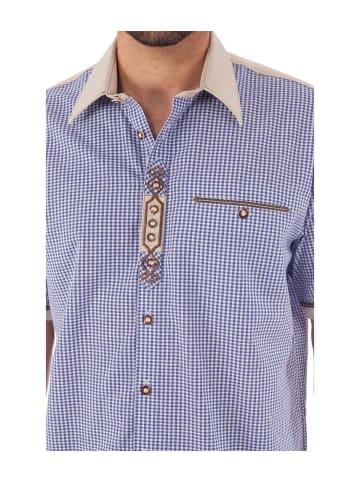 OS-Trachten Trachtenhemd DOMINIC Halbarm blau-natur