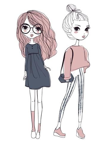 """Dekodino Wandtattoo """"Kinderzimmer Fashion Mädchen mit Pastellfarben"""" in Bunt"""