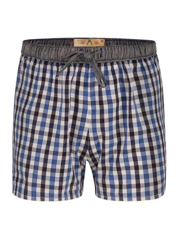 Luca David Pyjama-Shorts Olden Glory in Blau/Schwarz/Weiss