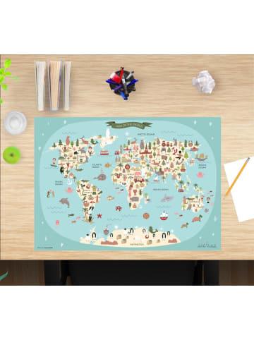 """Cover-your-desk.de  Schreibtischunterlage """"Weltkarten Muster Kinder"""" in Blau (L)60 x (B)40"""