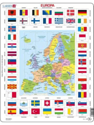 Larsen Rahmen-Puzzle, 70 Teile, 36x28 cm, Europa Länder & Flaggen