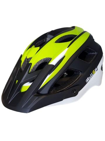 SkullCap MTB Fahrradhelm matt mit Visier u. Helmschild in weiß/grün/schwarz