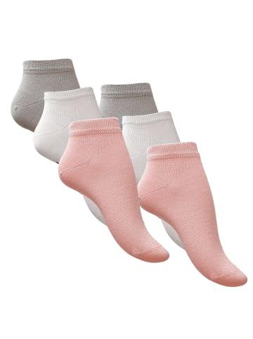 Vincent Creation® Bambus Sneaker Socken 6 Paar, Unisex in rosa/weiss/hellgrau