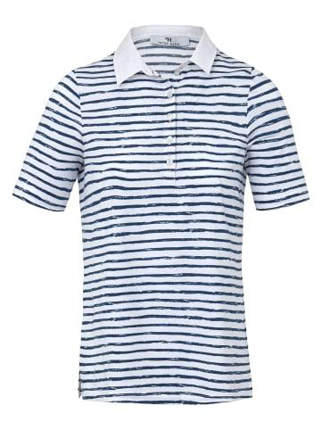 PETER HAHN Poloshirt Polo-Shirt in weiß/blau/gestreift