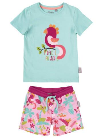 """Sigikid Bio-Baumwoll-Pyjama """"Tropical Paradise"""" in Hellblau/Rosa"""
