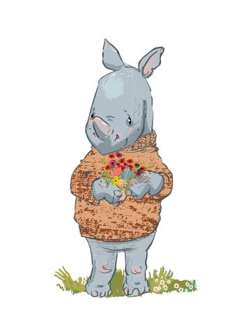 """Dekodino Wandtattoo """"Pastell Nashorn mit Blumen und Pullover"""" in Bunt"""