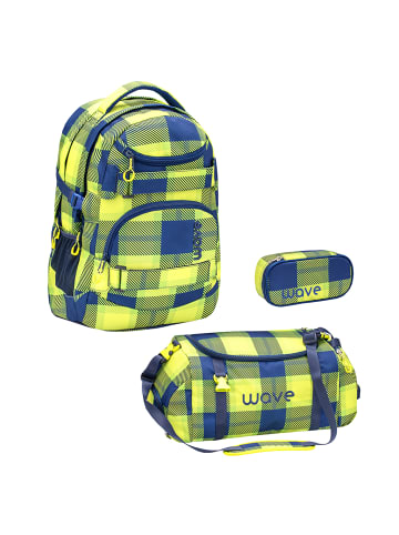 "Wave Rucksack ""Infinity Neon Pattern Set2"" in gelb, H 43 cm B 31 cm T 22 cm"
