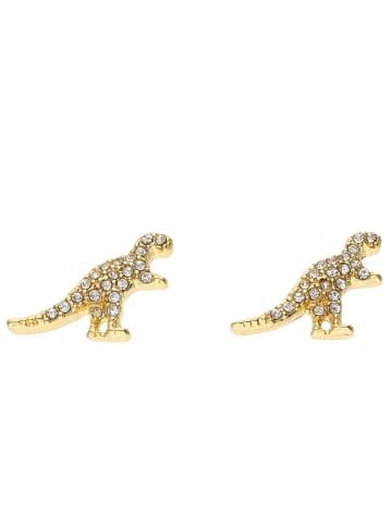 Six Ohrstecker in Dino-Form mit Strasssteinen vergoldet in goldfarben