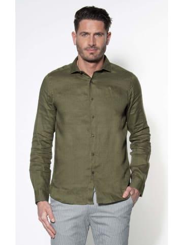 DSTREZZED Langarm Freizeithemd in dunkel-grün