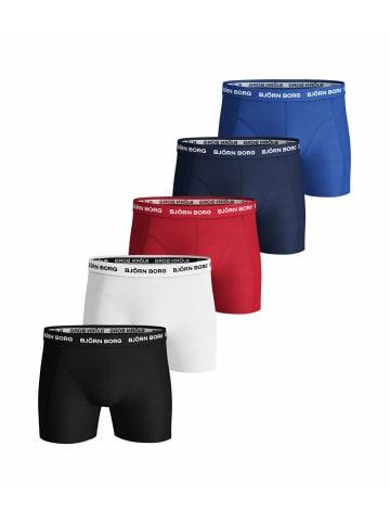 Björn Borg Boxershorts 5er Pack in blau/weiß/schwarz/rot