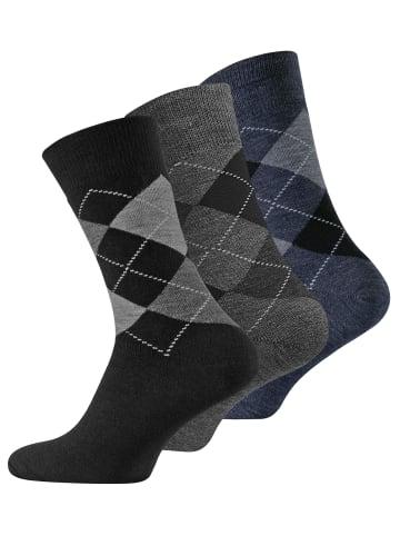 VCA® Thermo-Socken 3 Paar, im Karo-Design in Schwarz/Grau/Blau