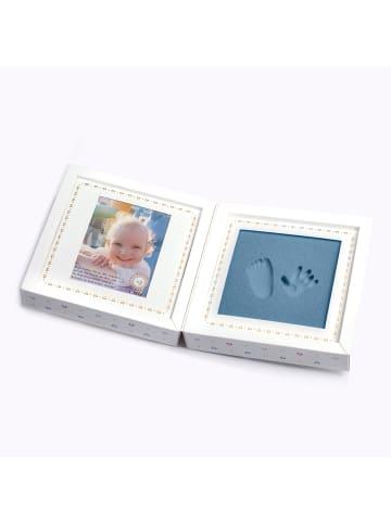 """Berlindesign.store Abdruckset """"Babyfootprint"""" mit Fotofenster in Weiß/Blau"""
