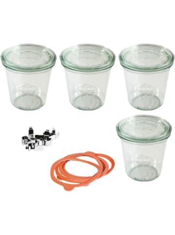 WECK 4er-Set Eingläser Sturzglas-Form 0,5l, mit Deckel, Gummis & Klammern