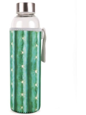 """Kikkerland Glas Trinkflasche """"Kaktus"""" mit Hülle und Trageschlaufe"""