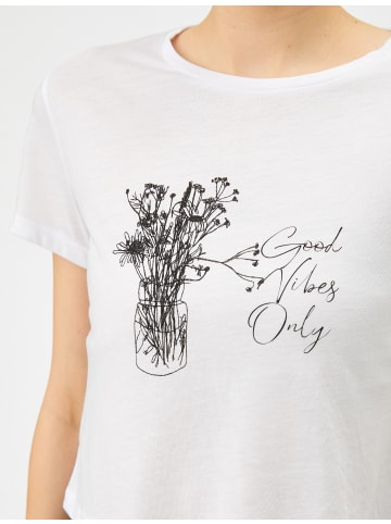 KOTON Damen T-Shirt -good vibes only in weiss