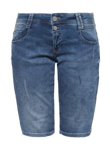 Way of Glory 5-Pocket Jeansshorts mit Waschungen und Strass-Detail in Denim