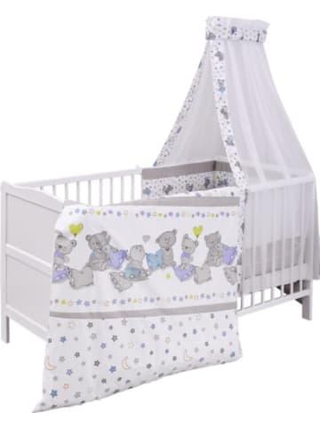 Urra Kinderbett komplett, Kiefer weiß, teilmassiv, Bärchen, 70x140cm