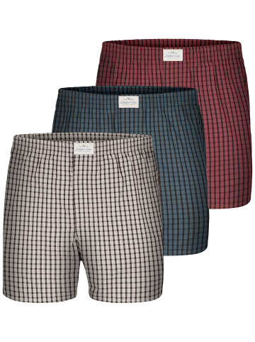 Lakeford & Sons Web Boxershorts 3-Pack 'Karos' in rot/blau/grau