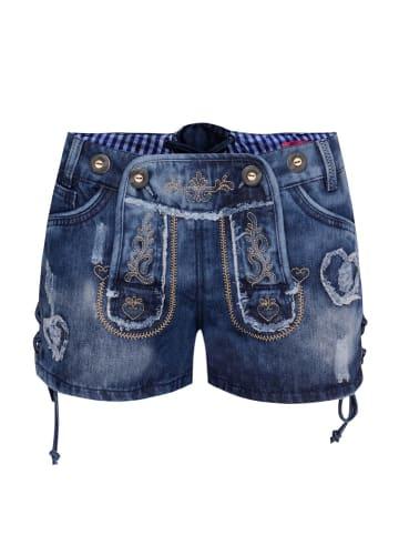 Krüger Dirndl Jeans-Lederhose in Blau