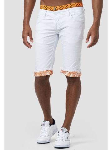 Jaylvis Jeans Shorts Kurze Stretch Capri Hose Bermuda 3/4 Pants in Weiß-Orange