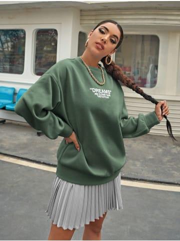 Enflame Dünnes Sweat Shirt Legerer Oversized Pullover Sweater Dreams in Grün