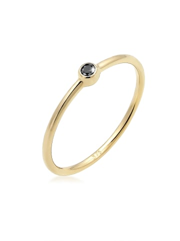Elli DIAMONDS  Ring 375 Gelbgold Black Diamond, Solitär-Ring, Verlobungsring in Gold