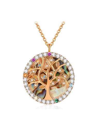Himmelsflüsterer  Lebensbaum-Halskette mit Perlmutt & Chakra-Kristallen