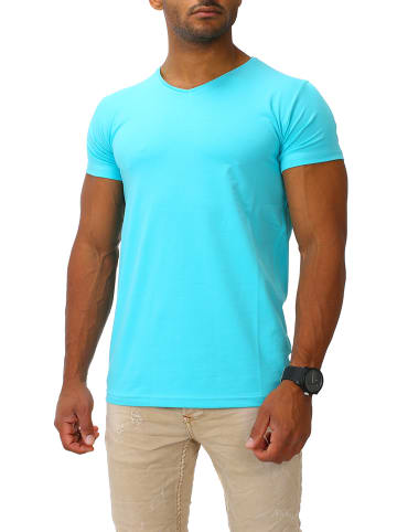 Joe Franks Joe Franks Joe Franks Herren Basic T-Shirts V-Neck HIGH in turquoise