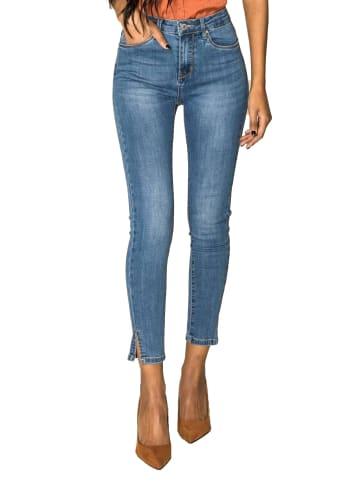 Nina Carter Skinny Denim Jeans High Waist Stretch Hose Ankle Cropped in Blau