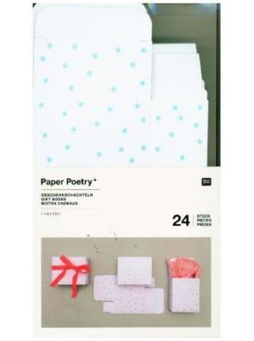 Rico Design Adventskalender Boxen Weiss/Irisierend, 24 Stück