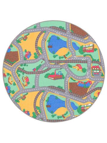 Snapstyle Kinder Spiel Teppich Straßenteppich Rund in Grün