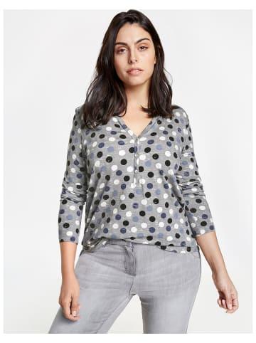 SAMOON T-Shirt Langarm Rundhals in Grau