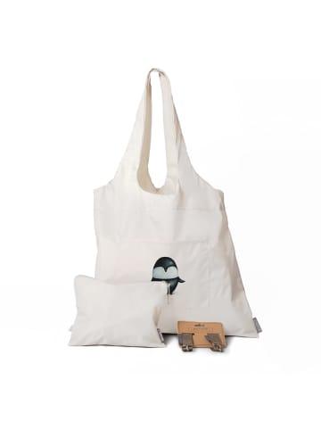Dori's Prints Tasche in Grau mit Pinguin Motiv/ 3er Set - Beutel + Haken + Kosmetiktasche