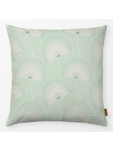"""Textilwerk.com Kissen """"sunshine palm leave mint"""" in Grün / Weiss"""
