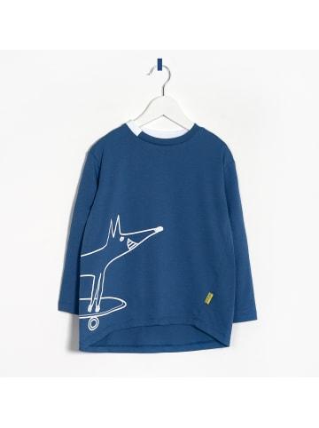 "OXOX  Longsleeve T-Shirt ""Happy Fox"" in blau"
