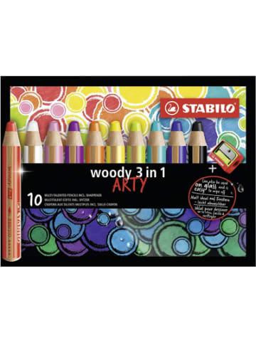 STABILO Buntstift woody 3 in 1 ARTY, 10 Farben, inkl. Anspitzer