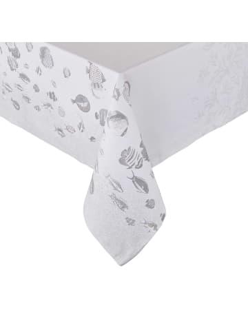 Butlers Tischdecke L 250 x B 160cm REEF in weiß und silber