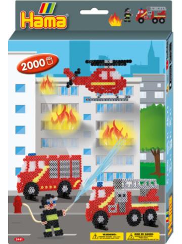 Hama Bügelperlen HAMA 3441 Geschenkset Feuerwehr, 2.000 midi-Perlen & Zubehör