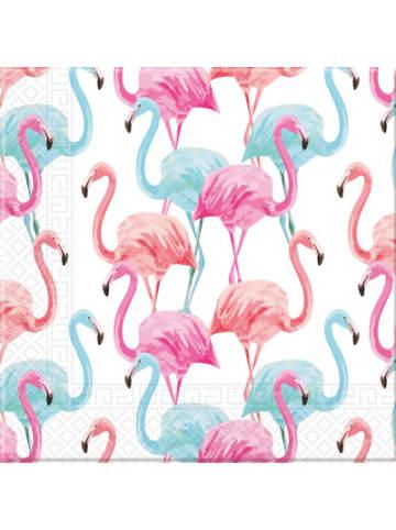 Procos Servietten Tropical Flamingo - kompostierbar 3-lagig 33x33cm, 20 Stück