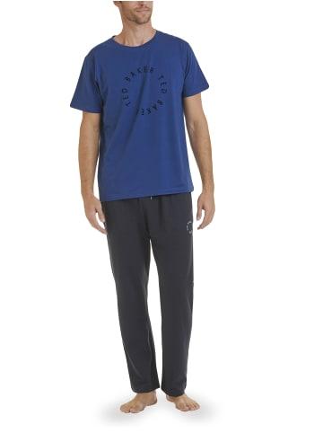 Ted Baker Kurzarm Pyjama Round Logo in Blau