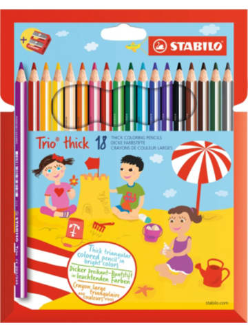 STABILO Dreikant-Buntstifte Trio Dick, 18 Farben, inkl. Spitzer
