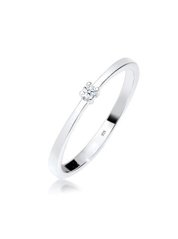 Elli DIAMONDS  Ring 925 Sterling Silber Solitär-Ring, Verlobungsring in Weiß