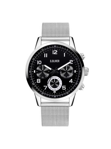 S.Oliver Time Armbanduhr SO-4354-MM in silber-schwarz