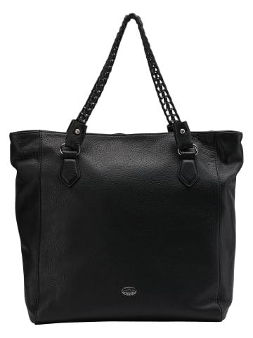 DreiMaster Klassik Leder Shopper in Schwarz